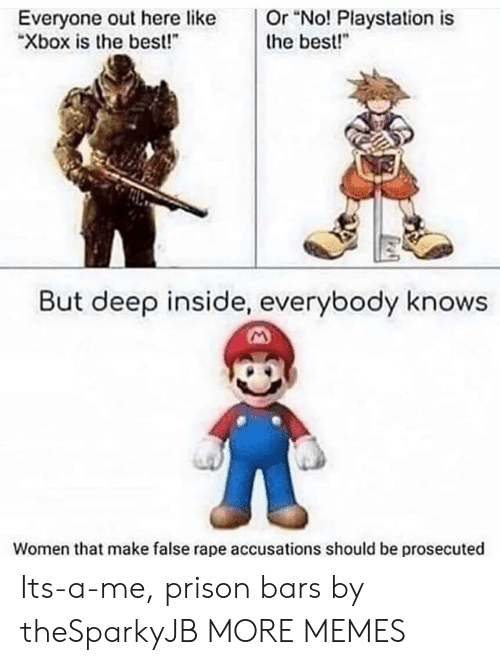 """Best But: Or """"No! Playstation is  the best!""""  Everyone out here like  """"Xbox is the best!  But deep inside, everybody knows  Women that make false rape accusations should be prosecuted Its-a-me, prison bars by theSparkyJB MORE MEMES"""