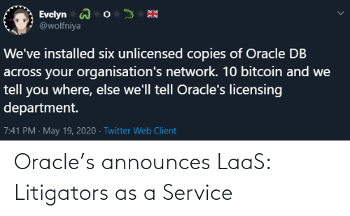 service: Oracle's announces LaaS: Litigators as a Service