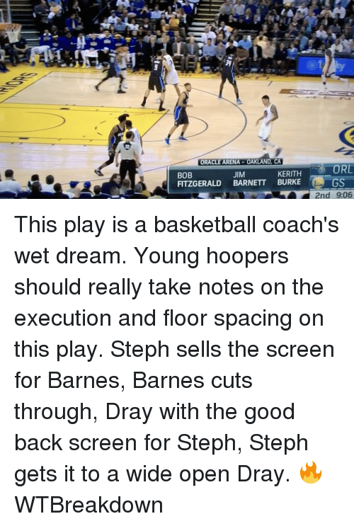 Basketball, Golden State Warriors, and Sports: ORACLE ARENA-OAKLAND, CA  ORL  KERITH  JIM  BOB  FITZGERALD  BARNETT BURKE  GS  RY 2nd 906 This play is a basketball coach's wet dream. Young hoopers should really take notes on the execution and floor spacing on this play. Steph sells the screen for Barnes, Barnes cuts through, Dray with the good back screen for Steph, Steph gets it to a wide open Dray. 🔥 WTBreakdown