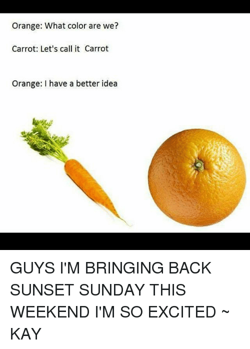 Kaye: Orange: What color are we?  Carrot: Let's call it Carrot  Orange: have a better idea GUYS I'M BRINGING BACK SUNSET SUNDAY THIS WEEKEND I'M SO EXCITED ~ KAY