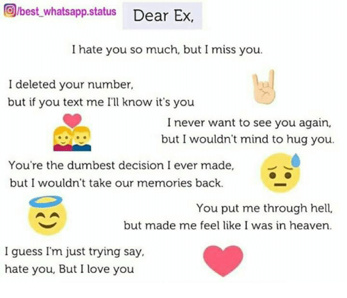 Orbest Whatsapp Status Dear Ex I Hate You So Much But I Miss
