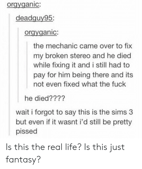 Being There: orgyganic:  deadquv95:  oravganic:  the mechanic came over to fix  my broken stereo and he died  while fixing it and i still had to  pay for him being there and its  not even fixed what the fuck  he died????  wait i forgot to say this is the sims 3  but even if it wasnt i'd still be pretty  pissed Is this the real life? Is this just fantasy?