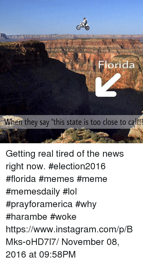 "Florida Meme: orida  en they say ""this state is too close to ca Getting real tired of the news right now. #election2016 #florida #memes #meme #memesdaily #lol #prayforamerica #why #harambe #woke https://www.instagram.com/p/BMks-oHD7l7/ November 08, 2016 at 09:58PM"