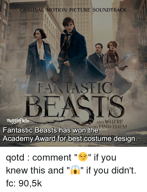 """Memes, 🤖, and Comment: ORIGINAL  MOTION PICTURE SOUNDTRACK  ASTIC  muggle facts  AND WHERE  IND THEM  Fantastic Beasts has won the  Academy Award for best costume design qotd : comment """"😏"""" if you knew this and """"😱"""" if you didn't. fc: 90,5k"""