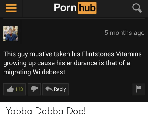 flintstones: ornhub  5 months ago  This guy must've taken his Flintstones Vitamins  growing up cause his endurance is that of a  migrating Wildebeest  113Reply Yabba Dabba Doo!