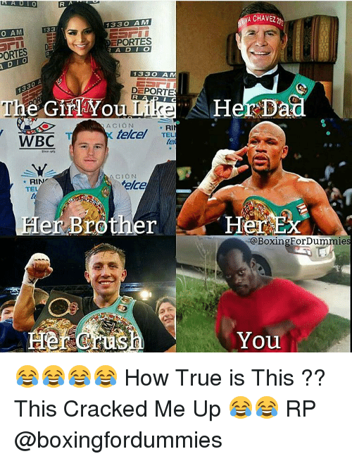 Telcel: ORTES  RA  YA CHAVEZ  1330  AM  133  G  EPORTES  133 AM  DEPORTES  The GirTYou  Her Dad  NACION  RI  telcel  TELI  WBC  RIN  Melcel  TE  Brother Her  er BoxingFor ForDummie  You 😂😂😂😂 How True is This ?? This Cracked Me Up 😂😂 RP @boxingfordummies