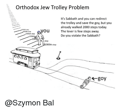 trolleys: Orthodox Jew Trolley Problem  It's Sabbath and you can redirect  the trolley and save the goy, but you  already walked 2000 steps today.  993th step  you  The lever is few steps away.  1994th step  1995th step  Do you violate the Sabbath?  1996t  19  step  2000th step  000 @Szymon Bal