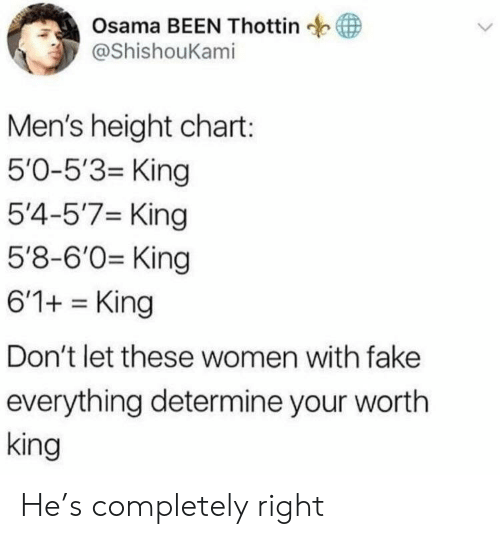 osama: Osama BEEN Thottin  у @ShishouKam.  Men's height chart:  5'0-5'3- King  5'4-5'7 King  5'8-6'0 King  6'1+King  Don't let these women with fake  everything determine your wortlh  king He's completely right