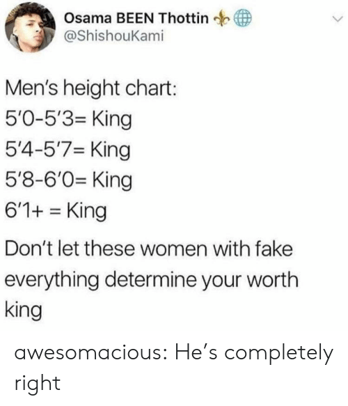 osama: Osama BEEN Thottin  у @ShishouKam.  Men's height chart:  5'0-5'3- King  5'4-5'7 King  5'8-6'0 King  6'1+King  Don't let these women with fake  everything determine your wortlh  king awesomacious:  He's completely right