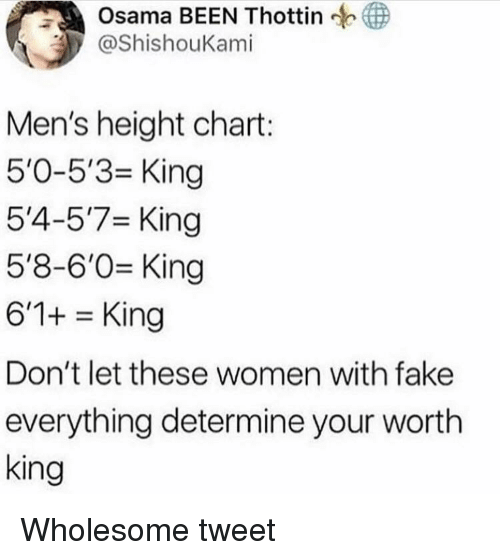 osama: Osama BEEN Thottin  ShishouKami  Men's height chart:  5'0-5'3 King  5'4-5'7 King  5'8-6'0 King  6'1+King  Don't let these women with fake  everything determine your wortlh  king Wholesome tweet