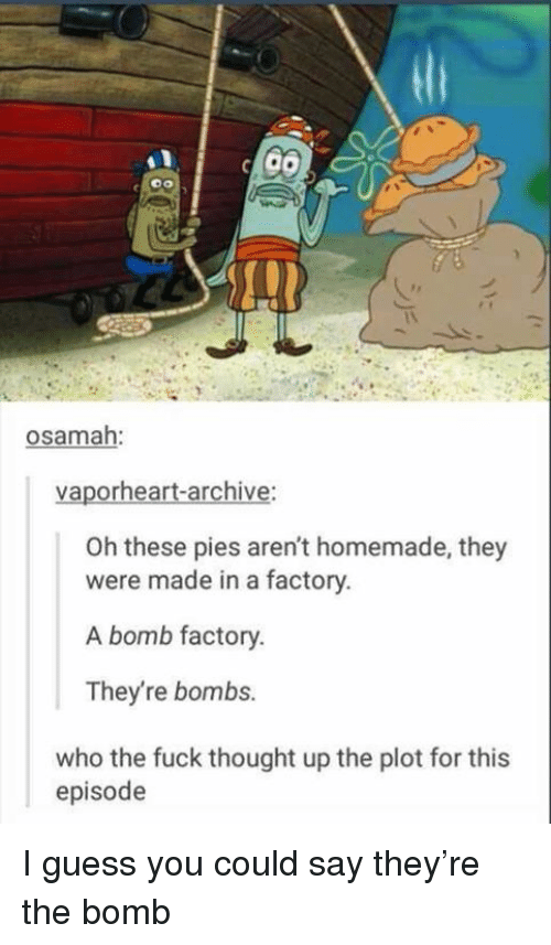 Funny, Fuck, and Guess: osamah:  vaporheart-archive:  Oh these pies aren't homemade, they  were made in a factory.  A bomb factory.  They're bombs.  who the fuck thought up the plot for this  episode I guess you could say they're the bomb