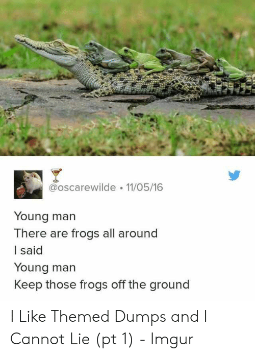And I Cannot Lie: @oscarewilde 11/05/16  Young man  There are frogs all around  I said  Young man  Keep those frogs off the ground I Like Themed Dumps and I Cannot Lie (pt 1) - Imgur