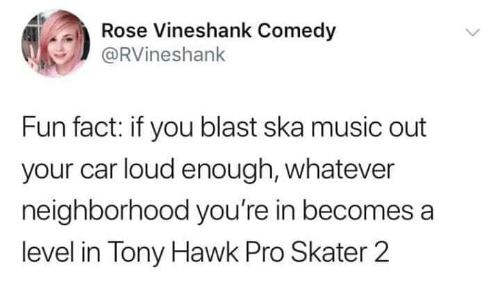 ska: ose Vineshank Come  @RVineshank  Fun fact: if you blast ska music out  your car loud enough, whatever  neighborhood you're in becomes a  level in Tony Hawk Pro Skater 2