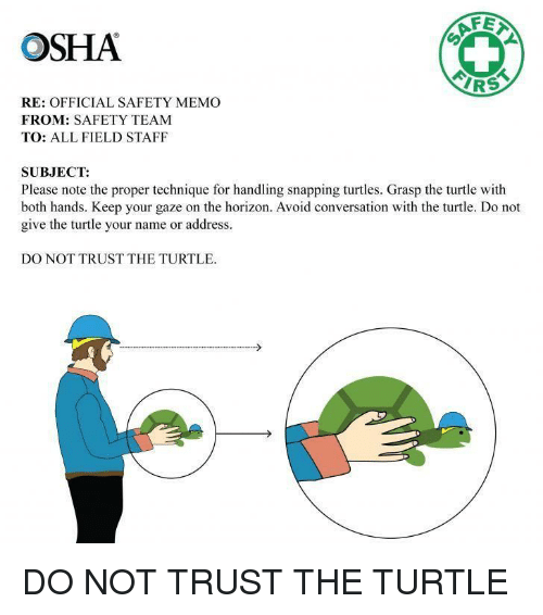 snapping: OSHA  AF  IRS  RE: OFFICIAL SAFETY MEMO  FROM: SAFETY TEAM  TO: ALL FIELD STAFF  SUBJECT:  Please note the proper technique for handling snapping turtles. Grasp the turtle with  both hands. Keep your gaze on the horizon. Avoid conversation with the turtle. Do not  give the turtle your name or address.  DO NOT TRUST THE TURTLE DO NOT TRUST THE TURTLE