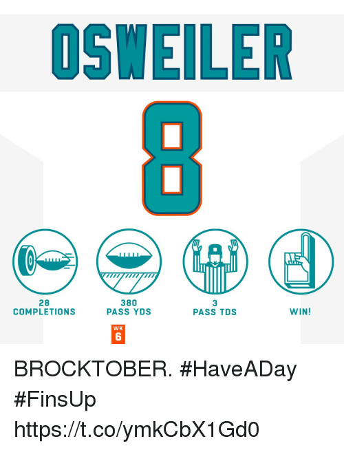 Osweiler: OSWEILER  28  COMPLETIONS  380  PASS YDS  3  PASS TDS  WIN!  WK  6 BROCKTOBER. #HaveADay #FinsUp https://t.co/ymkCbX1Gd0