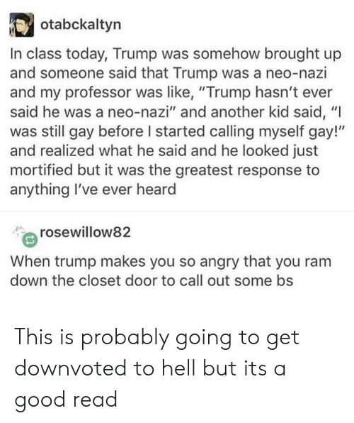 "Neo Nazi: otabckaltyn  In class today, Trump was somehow brought up  and someone said that Trump was a neo-nazi  and my professor was like, ""Trump hasn't ever  said he was a neo-nazi"" and another kid said, ""I  was still gay before I started calling myself gay!""  and realized what he said and he looked just  mortified but it was the greatest response to  anything I've ever heard  rosewillow82  When trump makes you so angry that you ranm  down the closet door to call out some bs This is probably going to get downvoted to hell but its a good read"