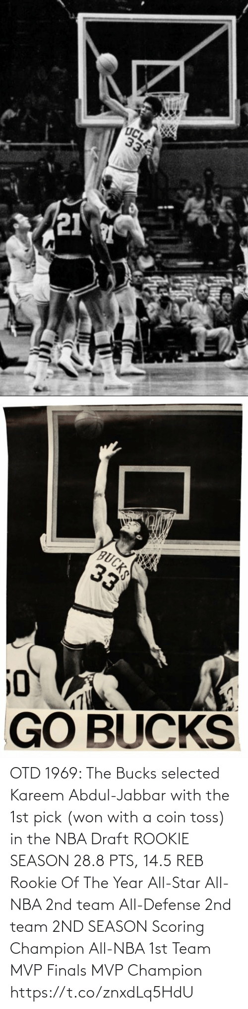 Finals: OTD 1969: The Bucks selected Kareem Abdul-Jabbar with the 1st pick (won with a coin toss) in the NBA Draft   ROOKIE SEASON 28.8 PTS, 14.5 REB Rookie Of The Year All-Star All-NBA 2nd team All-Defense 2nd team  2ND SEASON Scoring Champion All-NBA 1st Team MVP Finals MVP Champion https://t.co/znxdLq5HdU