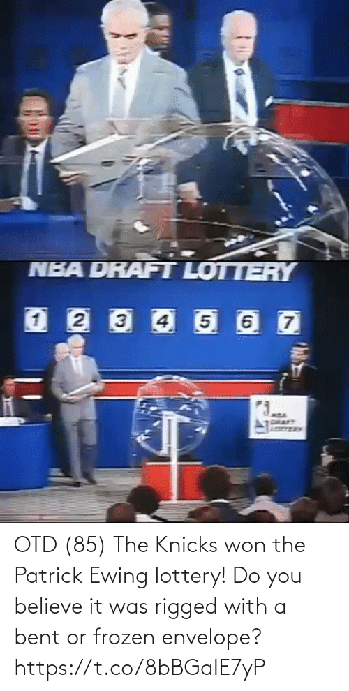 Believe It: OTD (85) The Knicks won the Patrick Ewing lottery! Do you believe it was rigged with a bent or frozen envelope?  https://t.co/8bBGaIE7yP