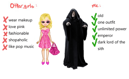 unlimited power: Other arls  me:  old  wear makeup  love pink  shopaholic  one outfit  unlimited power  emperor  dark lord of the  sith  X fashionable  like pop music