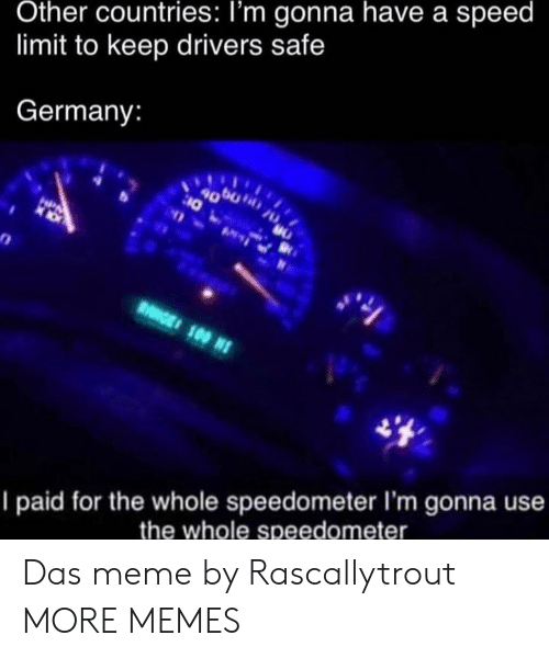 Speed Limit: Other countries: I'm gonna have a speed  limit to keep drivers safe  Germany:  4000  10  HPA  RGE 100 N  I paid for the whole speedometer I'm gonna use  the whole speedometer Das meme by Rascallytrout MORE MEMES