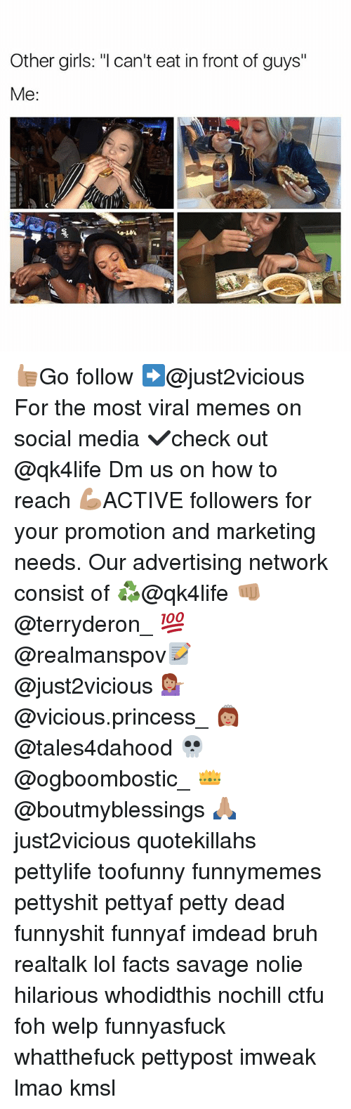 """Bruh, Ctfu, and Facts: Other girls: """"l can't eat in front of guys""""  Me  to-LO's 👍🏽Go follow ➡@just2vicious For the most viral memes on social media ✔check out @qk4life Dm us on how to reach 💪🏽ACTIVE followers for your promotion and marketing needs. Our advertising network consist of ♻@qk4life 👊🏽 @terryderon_ 💯@realmanspov📝 @just2vicious 💁🏽 @vicious.princess_ 👸🏽 @tales4dahood 💀 @ogboombostic_ 👑 @boutmyblessings 🙏🏽 just2vicious quotekillahs pettylife toofunny funnymemes pettyshit pettyaf petty dead funnyshit funnyaf imdead bruh realtalk lol facts savage nolie hilarious whodidthis nochill ctfu foh welp funnyasfuck whatthefuck pettypost imweak lmao kmsl"""