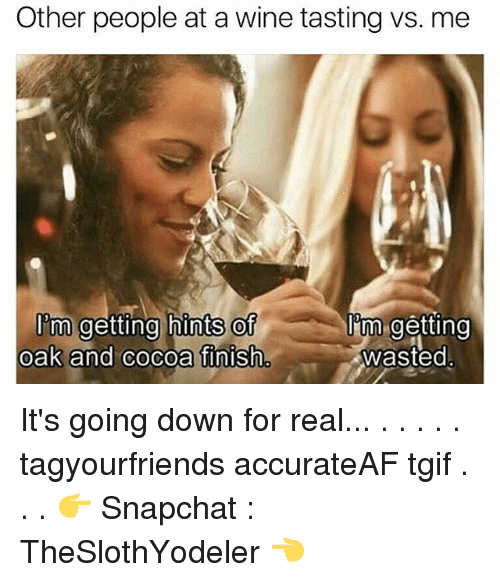 Going Down For Real: Other people at a wine tasting vs. me  I'tm getting hints of  im.getting  oak and cocoa finish  wasted It's going down for real... . . . . . tagyourfriends accurateAF tgif . . . 👉 Snapchat : TheSlothYodeler 👈
