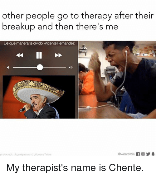 Memes, 🤖, and Gir: other people go to therapy after their  breakup and then there's me  De que manera te olvido -Vicente Fernandez  photocredit blogs e pais oom gir posts/Twiter My therapist's name is Chente.