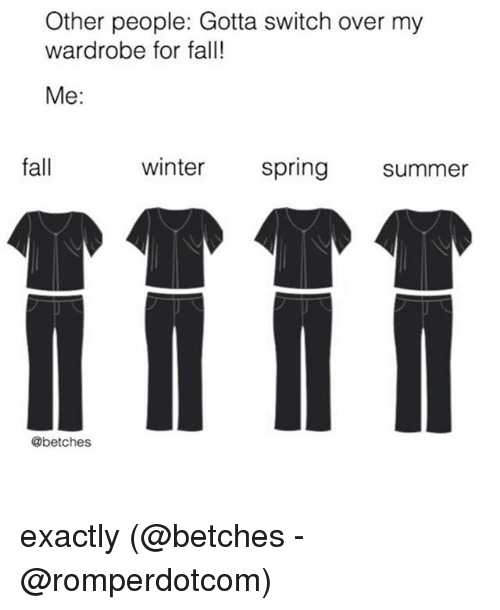 Fall, Memes, and Winter: Other people: Gotta switch over my  wardrobe for fall!  Me:  fall  winter  spring summer  @betches exactly (@betches - @romperdotcom)