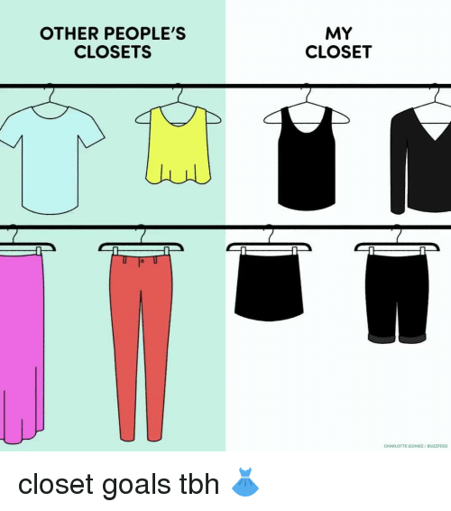 Memes, Buzzfeed, and Charlotte: OTHER PEOPLE'S  CLOSETS  MY  CLOSET  CHARLOTTE GOMEZ  BUZZFEED closet goals tbh 👗