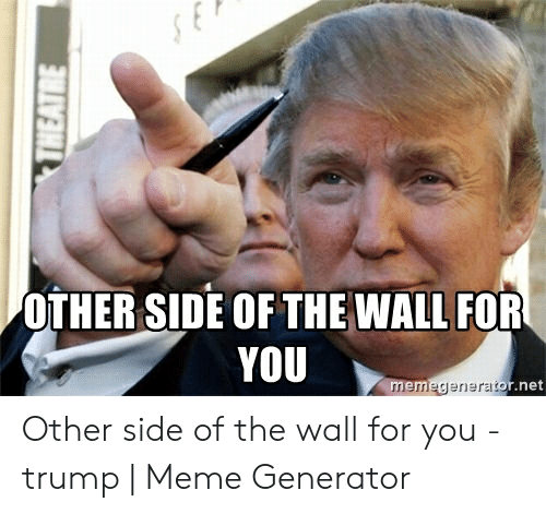Other Side Of The Wall For You: OTHER SIDE OF THE WALL FOR  YOU  r.net  memegenerat Other side of the wall for you - trump | Meme Generator