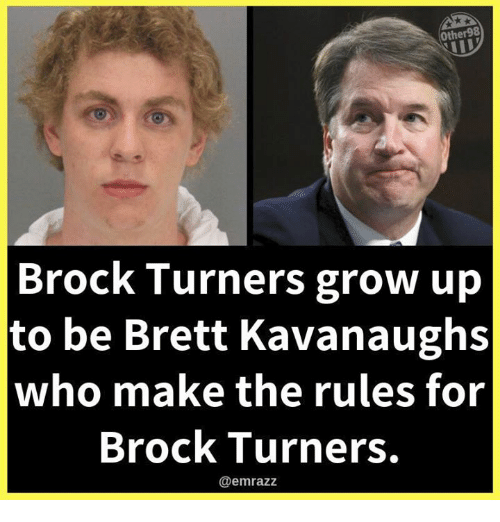 Turners: Other98  Brock Turners grow up  to be Brett Kavanaughs  who make the rules for  Brock Turners.  @emrazz