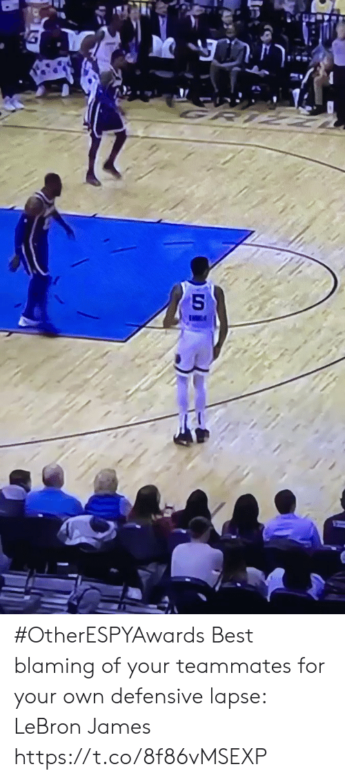 LeBron James: #OtherESPYAwards  Best blaming of your teammates for your own defensive lapse: LeBron James https://t.co/8f86vMSEXP