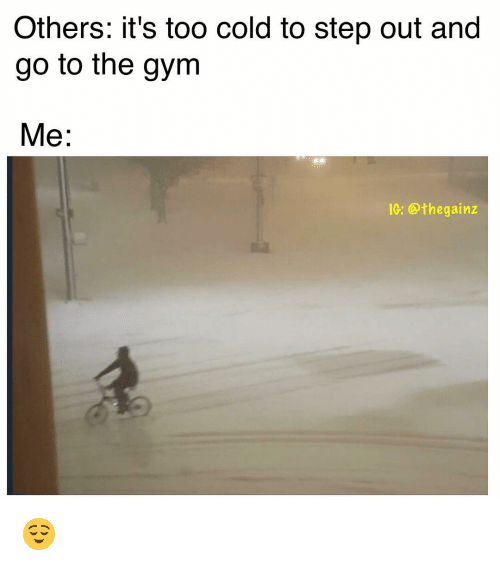 Others it s too cold to step out and go the gym me ig