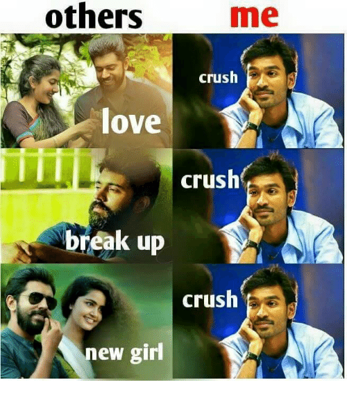 memes: others  me  crush  love  I I I  crush  break up  crush  new girl