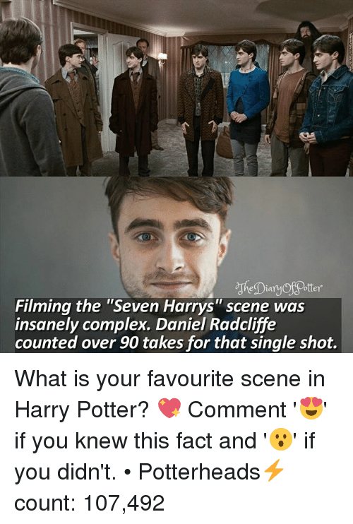 """Otterly: otter  Filming the """"Seven Harrys"""" scene was  insanely complex. Daniel Radcliffe  counted over 90 takes for that single shot. What is your favourite scene in Harry Potter? 💖 Comment '😍' if you knew this fact and '😮' if you didn't. • Potterheads⚡count: 107,492"""