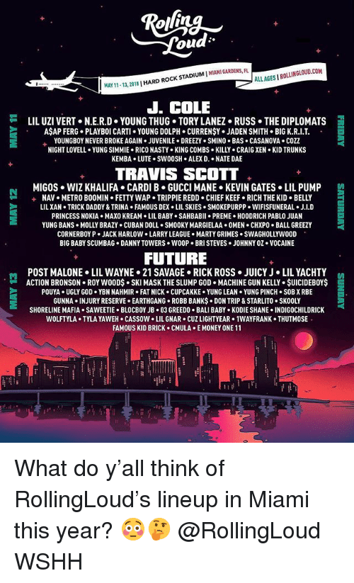 lightyear: ou  ALLAGES I ROLLINGLOUD.COM  11-13, 2018 | HARD ROCK STADIUM I MIAMI GARDENS  J. COLE  LIL UZI VERT+ N.E.R.D-YOUNG THUG-TORY LANE2+ Russ-THE DIPLOMATS  AŞAP FERG. PLAYBOI CARTI YOUNG DOLPH. CURRENŞY. JADEN SMITH BIG K.R.I.T  YOUNGBOY NEVER BROKE AGAIN . JUVENILE . DREEZY . SMINO . BAS . CASANOVA . COZZ  NIGHT LOVELL . YUNG SIMMIE-RICO NASTY . KING COMBS-KILL-CRAIG XEN-KID TRUNKS  KEMBA LUTE.SWOOSH ALEX D. NATE DAE  TRAVIS SCOTT  MIGOS  WIZ KHALIFA . CARDI B·GUCCI MANE-KEVIN GATES . LIL PUMP  NAV . METRO BOOMIH-FETTY WAP . TRIPPIE REDD-CHIEF KEEF-RICH THE KID-BELLY  LILXAN TRICK DADDY & TRINA FAMOUS DEX LIL SKIES SMOKEPURPP WIFISFUNERAL. J.I.D  PRINCESS NOKIA MAXO KREAM LIL BABY . SAHBABII . PREME-HOODRICH PABLO JUAN  YUNG BANs-MOLLY BRAZY . CUBAN DOLL SMOOKY MARGI ELAA+ 0MEN·CHXPo-BALL GREEZY  CORNERBOY P JACK HARLOW LARRY LEAGUE MARTY GRIMES SWAGHOLLYWO0D  BIG BABY SCUMBAG DANNY TOWERS WOOP BRI STEVES JOHNNY OZ.VOCAINE  +  FUTURE  POST MALONE> LIL WAYNE-21 SAVAGE-RICK ROSS·JUICY J . LIL YACHTY  -ACTION BRONSON-ROY WOOD$ . SKI MASK THE SLUMP GOD-MACHINE GUN KELLY . $UICIDEBOY$  트  POUYA UGLY GOD YBN NAHMIR FAT NICK CUPCAKKE YUNG LEAN YUNG PINCH SOB X RBE  GUNNA INJURY RESERVE EARTHGANG ROBB BANKS DON TRIP & STARLITO. SKOOLY  SHORELINE MAFIA . SAWEETIE-BLOCBOY JB+ 03 GREED0-BALI BABY-KODIE SHANE-INDIGOCHILDRICK  WOLFTYLA TYLA YAWEH CASSOW LIL GNAR CUZ LIGHTYEAR 1WAYFRANK THUTMOSE  FAMOUS KID BRICK CMULA E MONEY ONE 11 What do y'all think of RollingLoud's lineup in Miami this year? 😳🤔 @RollingLoud WSHH