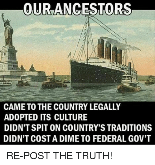 Memes, Truth, and 🤖: OUR ANCESTORS  CAME TO THE COUNTRY LEGALLY  ADOPTED ITS CULTURE  DIDN'T SPIT ON COUNTRY'S TRADITIONS  DIDN'T COST A DIME TO FEDERAL GOV'T RE-POST THE TRUTH!