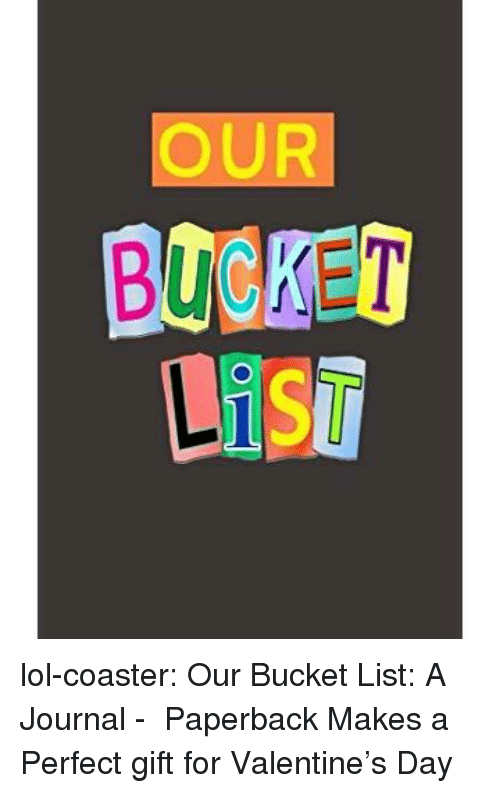 Bucket list: OUR  BOBKET lol-coaster:   Our Bucket List: A Journal -  Paperback      Makes a Perfect gift for Valentine's Day