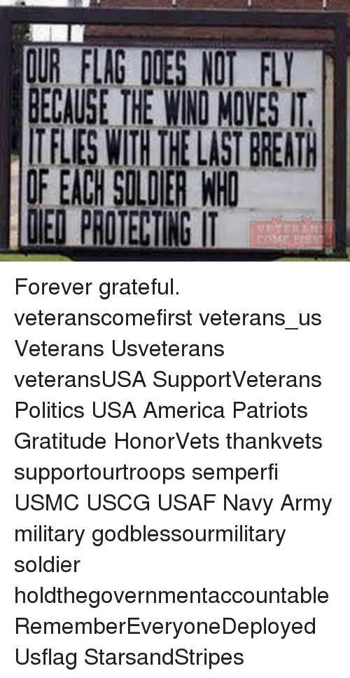 Memes, Soldiers, and Navy: OUR FLAG DOES NO  BECAUSE THE WIND MONES IT.  ITFLES WITH HELASTEREATH  IF EACH SOLDIER WHO  LEI PROTEKINGIT Forever grateful. veteranscomefirst veterans_us Veterans Usveterans veteransUSA SupportVeterans Politics USA America Patriots Gratitude HonorVets thankvets supportourtroops semperfi USMC USCG USAF Navy Army military godblessourmilitary soldier holdthegovernmentaccountable RememberEveryoneDeployed Usflag StarsandStripes