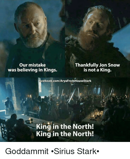 Memes, Jon Snow, and 🤖: Our mistake  Thankfully Jon Snow  was believing in Kings.  is not a King.  facebook.com/AryaFromHouseStark  King in the North!  King in the North! Goddammit •Sirius Stark•