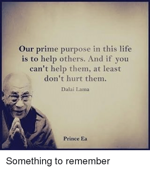 Memes, Dalai Lama, and 🤖: Our prime purpose in this life  is to help others. And if you  can't help them, at least  don't hurt them.  Dalai Lama  Prince Ea Something to remember