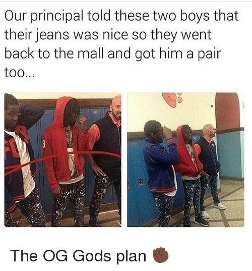 Funny, Principal, and Nice: Our principal told these two boys that  their jeans was nice so they went  back to the mall and got him a pair  too The OG Gods plan ✊🏿