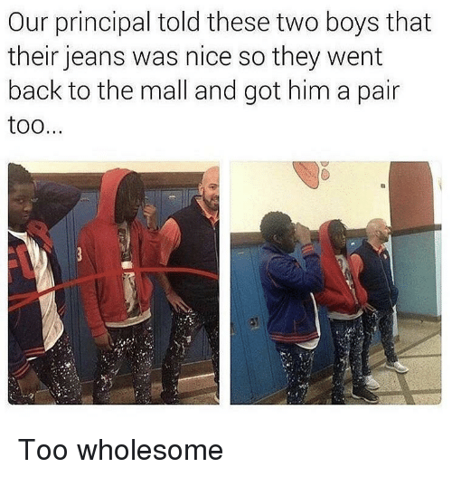 Principal, Wholesome, and Nice: Our principal told these two boys that  their jeans was nice so they went  back to the mall and got him a pair  too <p>Too wholesome</p>