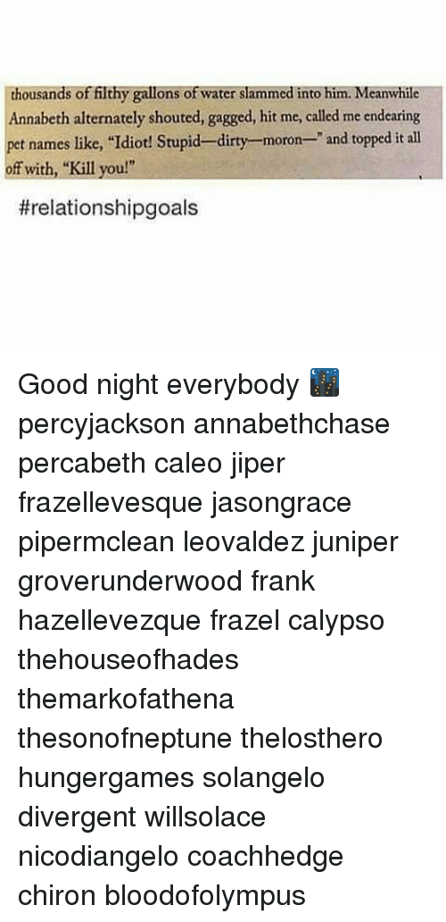 """Memes, Dirty, and Divergent: ousands of filthy gallons of water slammed into him. Meanwhile  Annabeth alternately shouted, gagged, hit me, called me endearing  pet names like, """"Idiot! Stupid-dirty-moron- and topped it all  off with, """"Kill you!""""  threlationshipgoals Good night everybody 🌃 percyjackson annabethchase percabeth caleo jiper frazellevesque jasongrace pipermclean leovaldez juniper groverunderwood frank hazellevezque frazel calypso thehouseofhades themarkofathena thesonofneptune thelosthero hungergames solangelo divergent willsolace nicodiangelo coachhedge chiron bloodofolympus"""