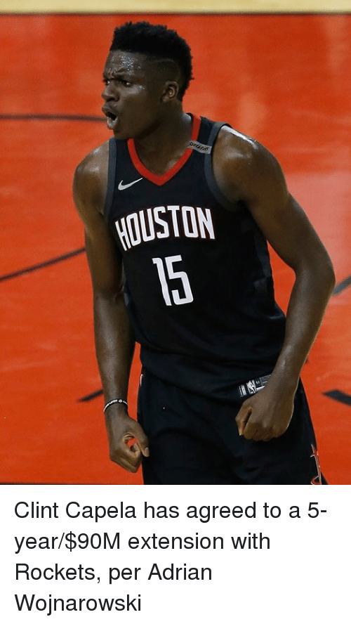 Rockets, Extension, and Agreed: OUSTON Clint Capela has agreed to a 5-year/$90M extension with Rockets, per Adrian Wojnarowski