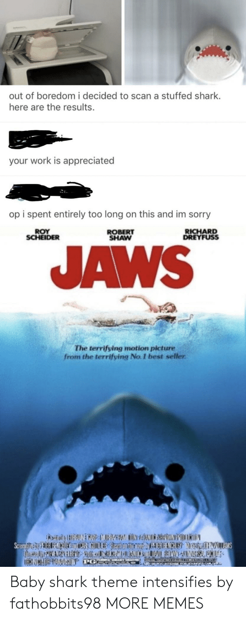 aws: out of boredom i decided to scan a stuffed shark.  here are the results.  your work is appreciated  op i spent entirely too long on this and im sorry  ROY  SCHEIDER  ROBERT  SHAW  RICHARD  DREYFUSS  AWS  The terrifying motion picture  from the terrifying No. I best seller Baby shark theme intensifies by fathobbits98 MORE MEMES