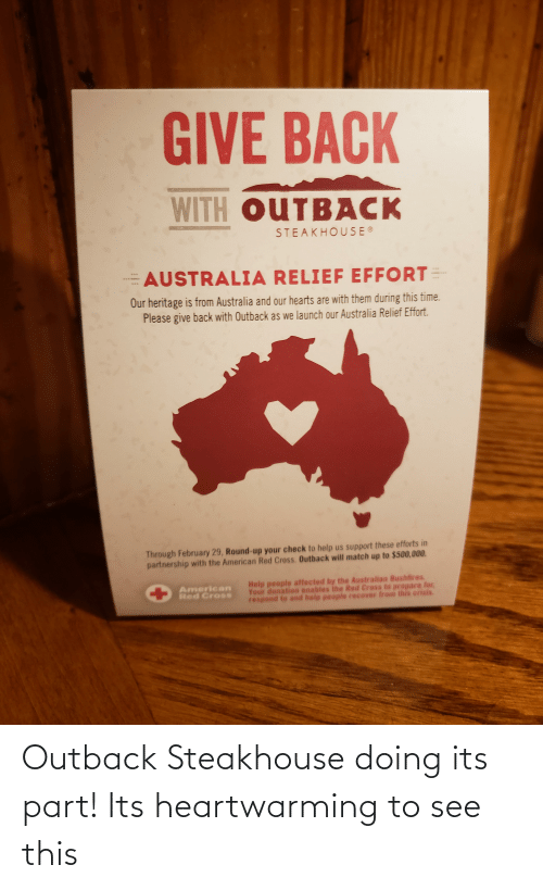 Outback Steakhouse: Outback Steakhouse doing its part! Its heartwarming to see this