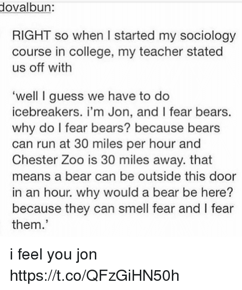 College, Memes, and Run: ovalbun  RIGHT so when I started my sociology  course in college, my teacher stated  us off with  well I guess we have to do  icebreakers. i'm Jon, and I fear bears.  why do I fear bears? because bears  can run at 30 miles per hour and  Chester Zoo is 30 miles away. that  means a bear can be outside this door  in an hour. why would a bear be here?  because they can smell fear and l fear  them. i feel you jon https://t.co/QFzGiHN50h