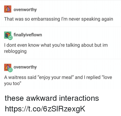 "Love, Awkward, and Never: ovenworthy  That was so embarrassing I'm never speaking again  finallyiveflown  I dont even know what you're talking about but im  reblogging  govenworthy  A waitress said ""enjoy your meal"" and I replied ""love  you too"" these awkward interactions https://t.co/6zSlRzexgK"