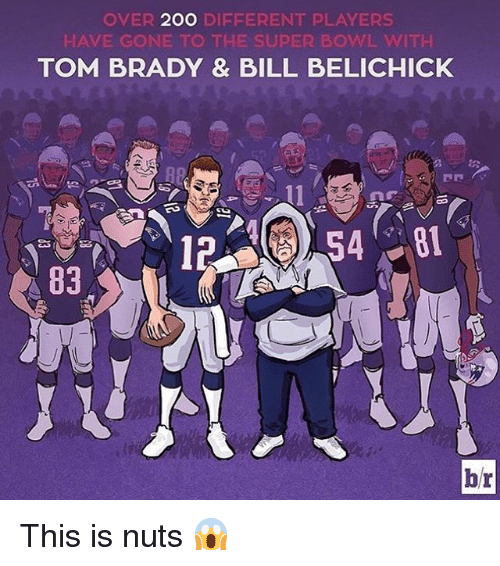 Bill Belichick, Memes, and Belichick: OVER  2OO  DIFFERENT PLAYERS  HAVE GONE TO THE SUPER BOWL VAITH  TOM BRADY & BILL BELICHICK  hr This is nuts 😱